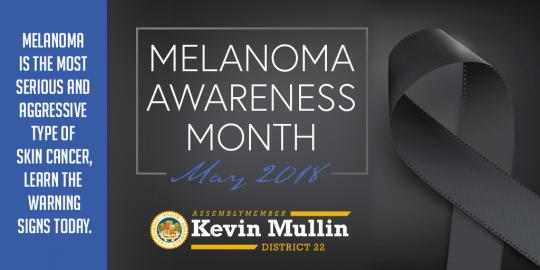 "Image of black ribbon that reads ""Melanoma Awareness Month"""