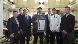 Assemblymember Mullin Presents a Resolution to the State HS Football Championship Team from Serra